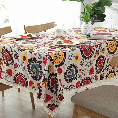Milopon Mantel de 140 x 180 cm, diseño de girasoles, de algodón y lino, rectangular, adecuado para mesa de comedor, mesa de jardín, mantel para exterior, decoración del hogar