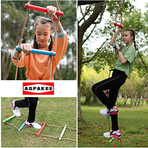 Rainbow Climbing Rope ladders for Kids, Kids Ninja Course Accessories, Playground Swings and Tree House Climbing Rope ladders