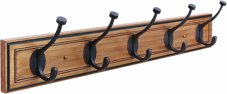 Amerock H55662HORB Beveled Hook Rack, Honey Pine and Oil Rubbed Bronze, 27-Inch