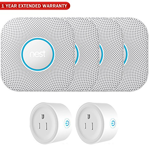 Nest S3000BWES Protect 2nd Gen Smoke/Carbon Monoxide Alarm - Battery (4-Pack)+ 2 Pack WiFi Smart Plug + 1 Year Extended Warranty