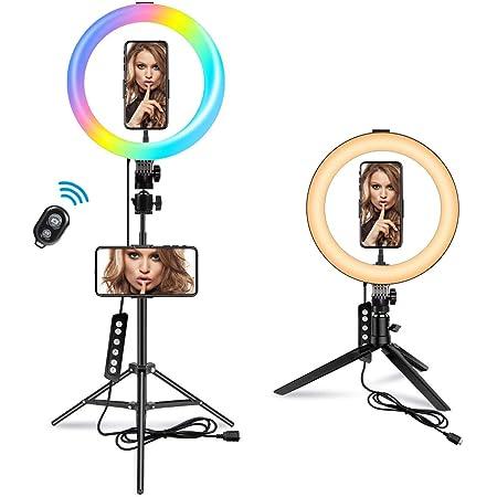 3 Colores de luz y 10 Niveles de Brillo para Selfie iluminaci/ón para Maquillaje Youtube Live Stream Anillo aro de luz de 10 Inch con tr/ípode led Ring Light