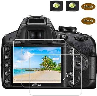D3400 D3500 Protector pantalla de cristal para cámara Nikon D3500 D3400 D3300 D3200 D3100 DSLR y cubierta de zapata calienteBTER 9H Dureza vidrio templado antiarañazos anti huellas (2+3 unidades)