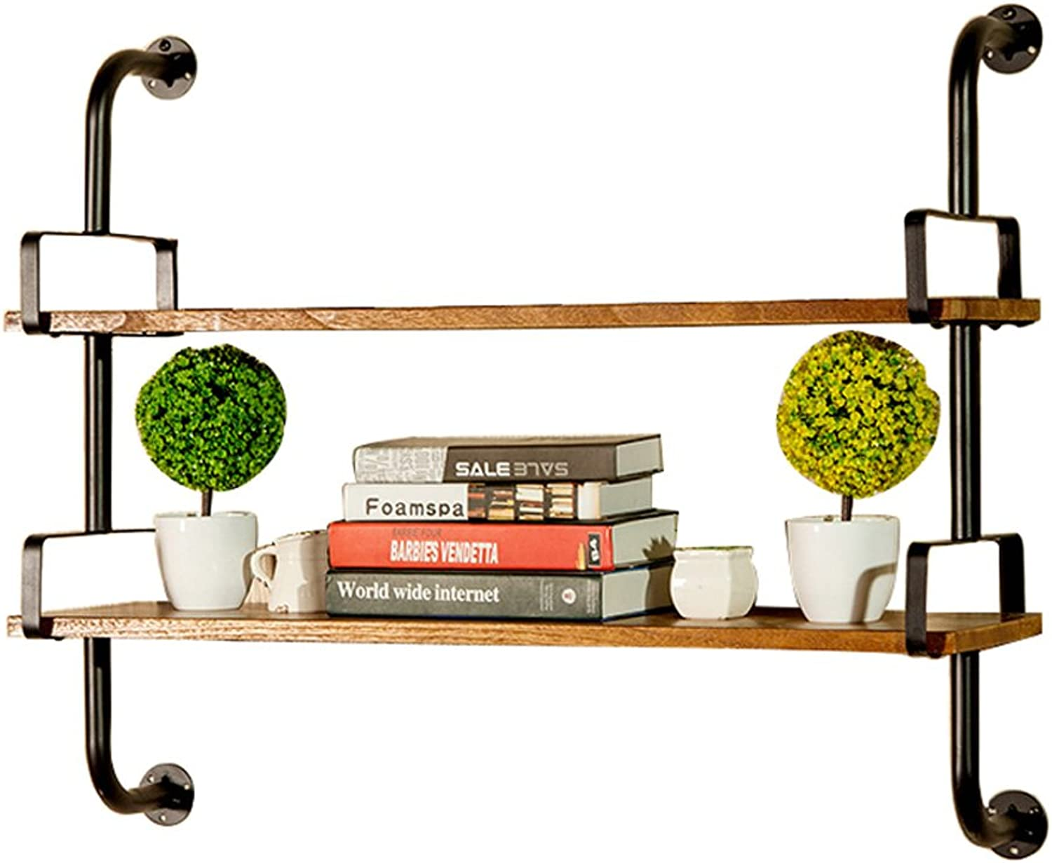 LQQGXL.Storage and Organization Wall-Mounted Iron arm Solid Wood Frame European Style Living Room Shelf Ledge, 1 2 Layer Optional (color   2 Layer, Size   45cm)