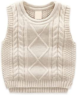 TAIYCYXGAN Unisex Baby Boys Girls Cable Knit Sweater Vest Kids Winter Pullover Waistcoat