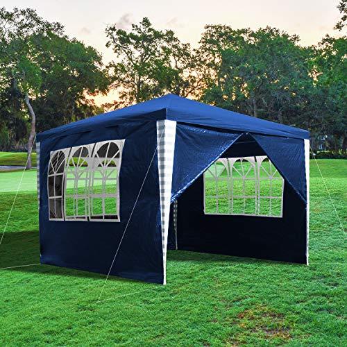 wolketon Pavillon Wasserdicht Hochwertiges Gartenpavillon 3x3m mit 4 Seitenteilen Blau Partyzelt Gartenzelt UV-Schutz für Familientreffen Markt Camping Hochzeiten Festival