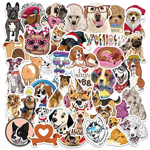Cute Animal Pet Dogs Stickers Cartoon Poodle Golden Retriever Dog Cat Toy On Laptop Car Water Bottle Phone Bicycle Sticker Decal
