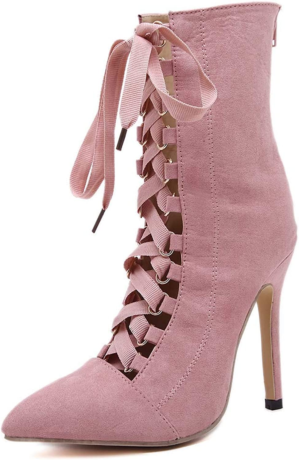 Womens high Heel shoes Pointed Suede Stiletto in The mid Boots Cross Straps Fashion Sandals