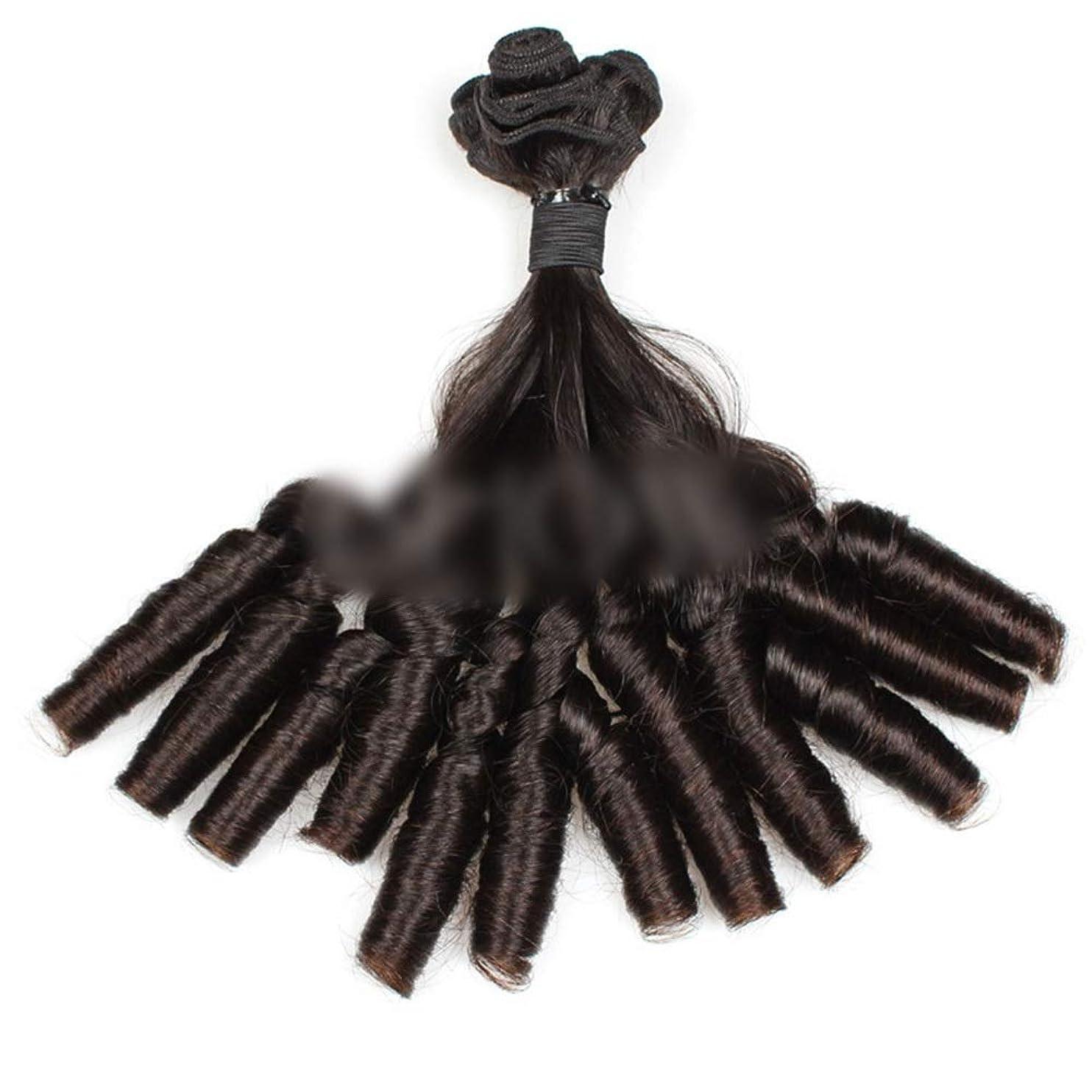 アンペア聖域精通したYESONEEP 10AブラジルFunmiヘアバンドルショートボブスタイルカーリー織りルースウェーブヘアロールプレイングかつら女性のかつら (色 : 黒, サイズ : 12 inch)