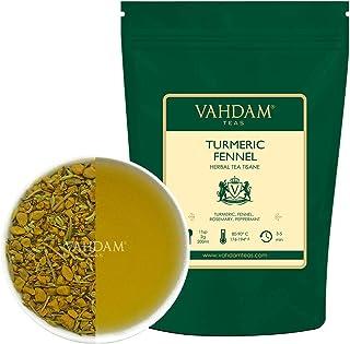 VAHDAM, Té de Hierbas de Hinojo de Cúrcuma, Hojas Sueltas (100 tazas), 200g   infusiones para adelgazar  Mezcla de té de cúrcuma y hinojo   Tisana 100% natural   Preparar como té caliente o helado