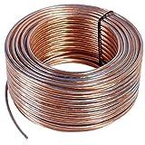 Misterhifi Cable para altavoces de 100 m 2 x 2,5 mm², cordón: 2 x 78 x 0,2 mm, aislamiento transparente, cable de cobre 99,99 % OFC, Made in Germany, cable para bafles / cable para audio para altavoces y home cinema