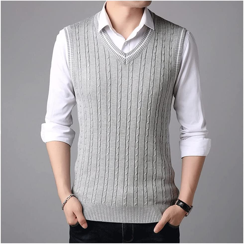 DIAOD Sleeveless Sweater Tank Tops Men Spring Autumn Knitted Jumpers Vest for Men Fashion Casual Wear Vest (Color : Gray, Size : L Code)