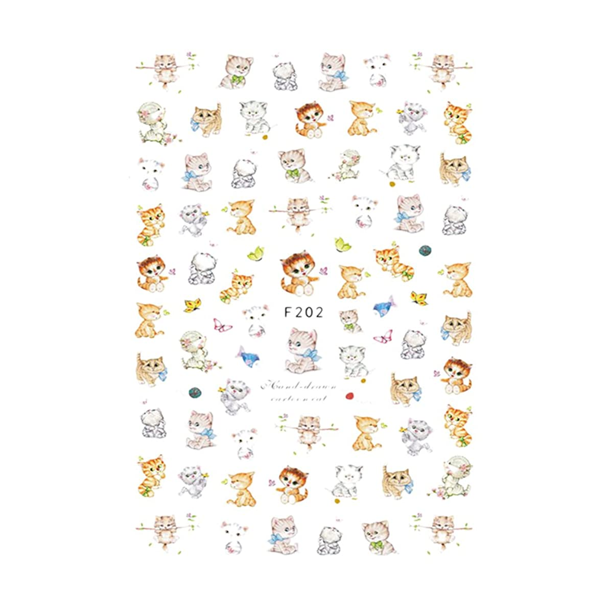 ROSENICE ネイルシール ステッカー 猫 可愛い ネイルアート 貼るだけでいい