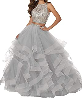 Ieuan Women's Two Pieces Prom Dress Sequined Sleeveless Tulle Ball Gown Bridal Wedding Dress