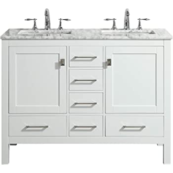 Eviva Aberdeen 48 inch White Transitional Double Sink Bathroom Vanity with White Carrara Marble Countertop and Undermount Porcelain Sinks