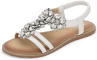 HPLY Women's Summer Beach Bohemia Sandals Crystal Flat Sandals
