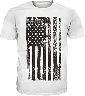 UNIFACO Men American Flag Cotton Shirts Short Sleeve Soft Top Tees for July Forth Independence Day