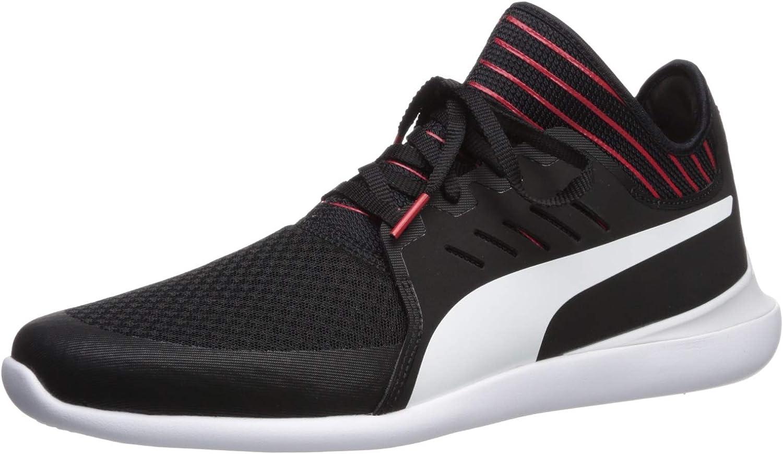 PUMA Men's Ferrari Evo Cat Sneaker, Black-White, 7 M US