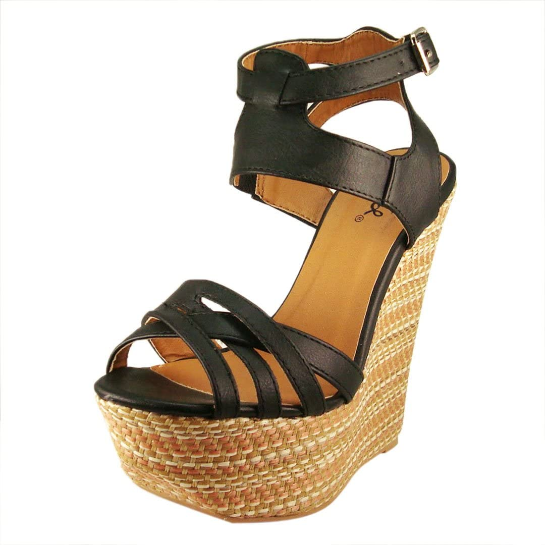 Qupid Women's Atlanta Mall Collide20 Leatherette Strappy New product type Wedge Sandal