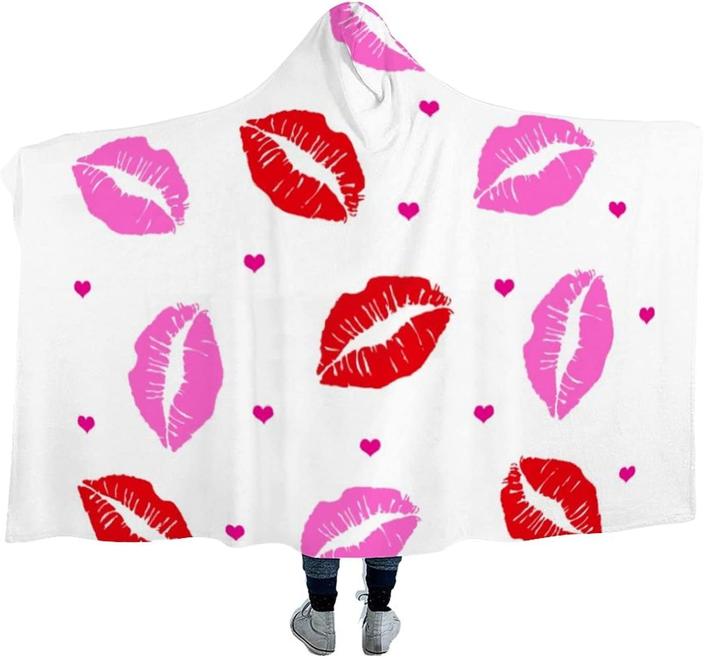 Kiss Lips Pink and Red Max 70% OFF Hearts Limited price sale Blanket Hooded White Wearable Micr
