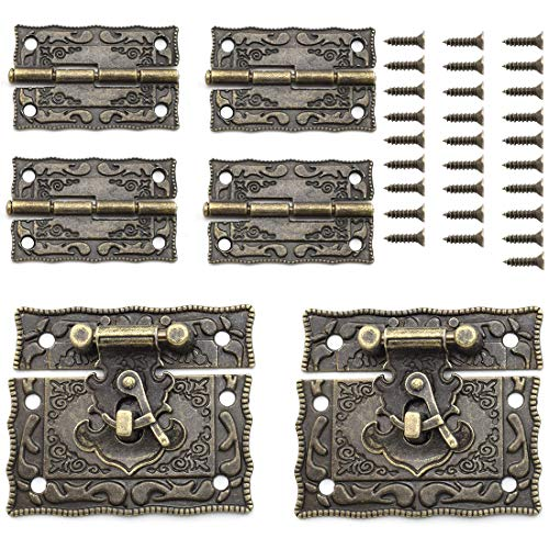 SDTC Tech Antique Bronze Rectangle Right Hook Hasp Latch and Engraved Hinge Kit for Decorating Vintage Style Furniture Jewelry Box Cabinet Suitcase (2X Hasps + 4X Hinges)