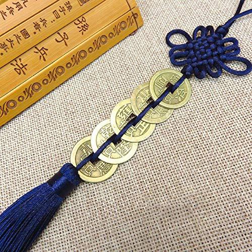 nxychunmei GBND1 Stück von fünf Kaiser Geld Glücksbringer alte Münzen rot chinesische Knotensammlung Geschenk Kupfermünze Schlüsselanhänger viel Glück Hauptdekoration Marineblau