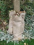 Yuzet 5x Large Natural jute compostable leaf sacks for composting leaves hessian bag