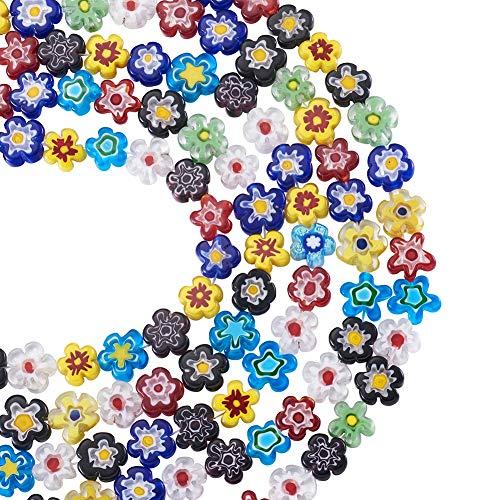 PandaHall Cuentas de cristal Millefiori con forma de flor de 5 hilos, 10 ~ 12 x 4 mm, cuentas de cristal con una sola flor para hacer joyas, colores mezclados al azar