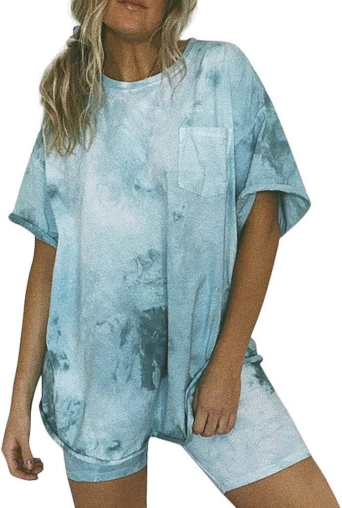 Hessimy Tie Dye Pajamas for Women,Women's Pajama Set Sleepwear Pj Set Two Piece Pajamas Short Sleeve Tee Sleep Shorts