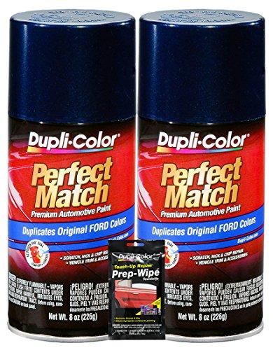 Dupli-Color True Blue Exact-Match Automotive Paint for Ford Vehicles - 8 oz, Bundles with Prep Wipe (3 Items)