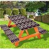 LEWIS FRANKLIN - Cortina de ducha con diseño de flores de lujo para picnic, diseño artístico de rosas, 28 x 72 pulgadas, juego de 3 piezas para mesa plegable