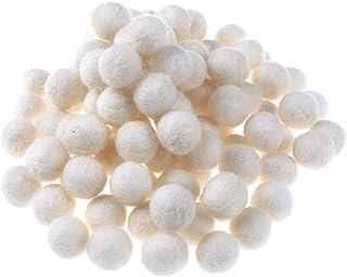 Bolas de feltro de lã contas de lã 20 mm de feltro pompons de lã para decoração de artesanato DIY, Bege, 1