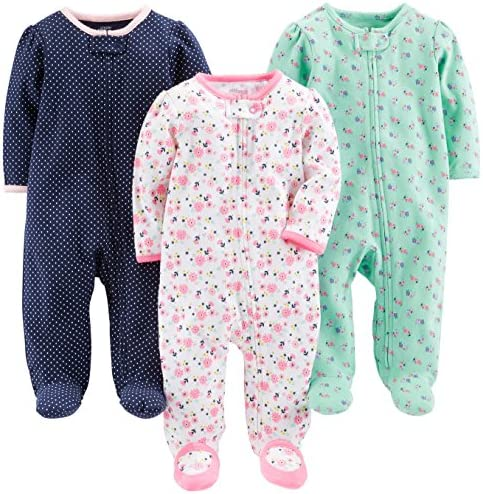 Simple Joys by Carter s Baby Girls 3 Pack Sleep and Play Pink Floral Blue Floral Navy Dot 3 product image