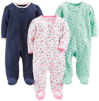 Simple Joys by Carter s Baby Girls  3-Pack Sleep and Play Pink Floral Blue Floral Navy Dot Newborn