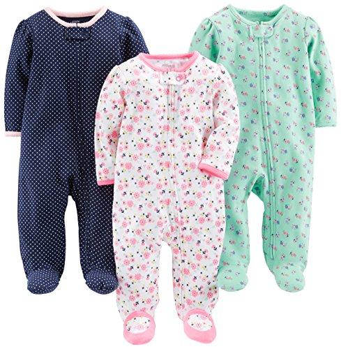 Simple Joys by Carter's Baby Girls paquete de 3 para dormir y jugar ,Pink Floral, Blue Floral, Navy Dot ,3-6 Meses