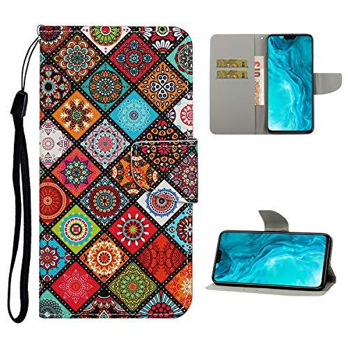Nadoli Brieftasche Etui für Xiaomi Redmi 9C,Volk Blumen Muster Bunt Pu Leder Lanyard Standfunktion Magnetisch Handyhülle Schutzhülle Lederhülle mit Kartenfach