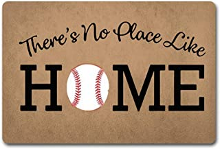 ZQH WelcomeDoor Mats There's No Place Like Home Doormat Baseball Door Rugs Home Plate Door Mats (23.6 X 15.7 in) Non-Woven Fabric Top with a Anti-Slip Rubber Back Door Rugs Hello Doormat
