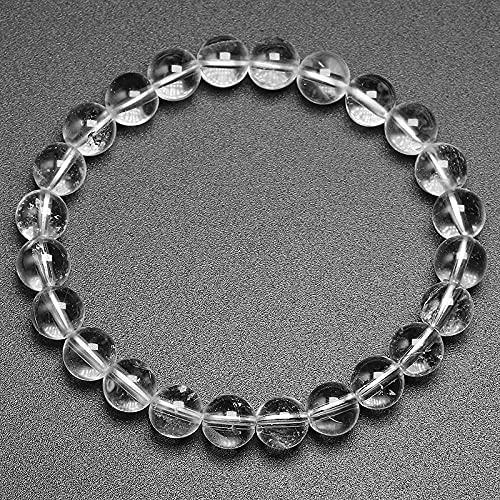 Pulsera De Cuentas Natural Blanco Claro Cuarzo Gemas Cuentas Redondas Hechas A Mano Elástico Mujeres Hombres Pulsera Regalo Joyería Beads 8Mm 19Cm 7 5Inch