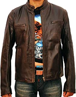 New York Contraband Mark Wahlberg Distressed Brown Leather Jacket