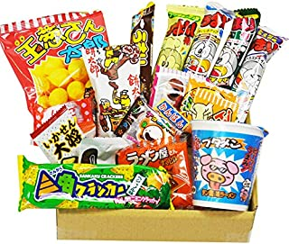 Japanese Dagashi 18 pcs assortment & Cup Noodles ramen BUTAMEN set special BOX with AKIBA KING sticker