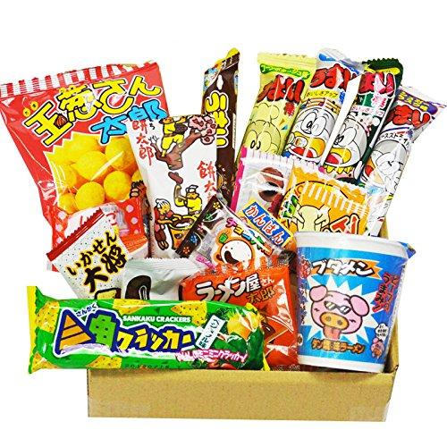 Japanische Dagashi 19 Stück Sortiment & Tasse Nudeln Ramen BUTAMEN Set spezielle BOX mit AKIBA KING Aufkleber