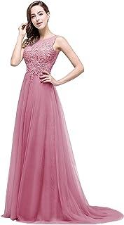 Babyonline Damen A-Linie Langes Prinzessin Tüll Abendkleid Ballkleid Brautjungfern Cocktail Party Kleid