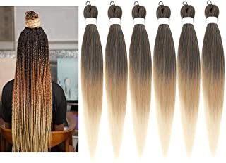 Newluyang Ombre Pre Stretched Braiding Hair,Top Silky Color Blend Synthetic Fiber Easy Braid Hair Extensions,26inch 6packs...