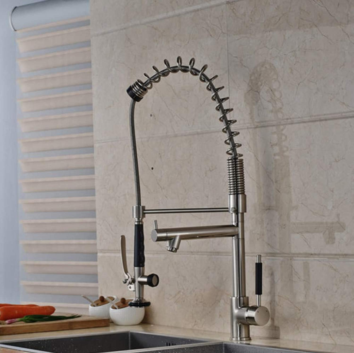 CZOOR Luxury Deck Mounted Spring Kitchen Water Taps Two Spout Brushed Nickel Kitchen Mixer Faucet Single Handle