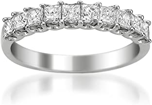 Platinum Princess-cut Diamond Bridal Wedding Band Ring (1 cttw, H-I, VS2-SI1) By La4ve | Real Diamond Rings For Women | Gi...