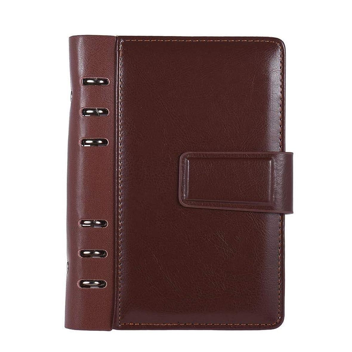 家族タッチサポートペンホルダー付き充填可能A5ビジネスノートブック、レザー多機能レトロデザインメモ帳文房具、会議記録帳 (Color : Brown)