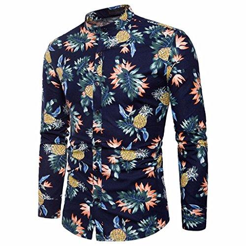 Camisas Hawaianas Hombre,Camisa de los Hombres Impreso Slim Fit Camisas de Manga Larga Informal botón Formal Tops Blusa