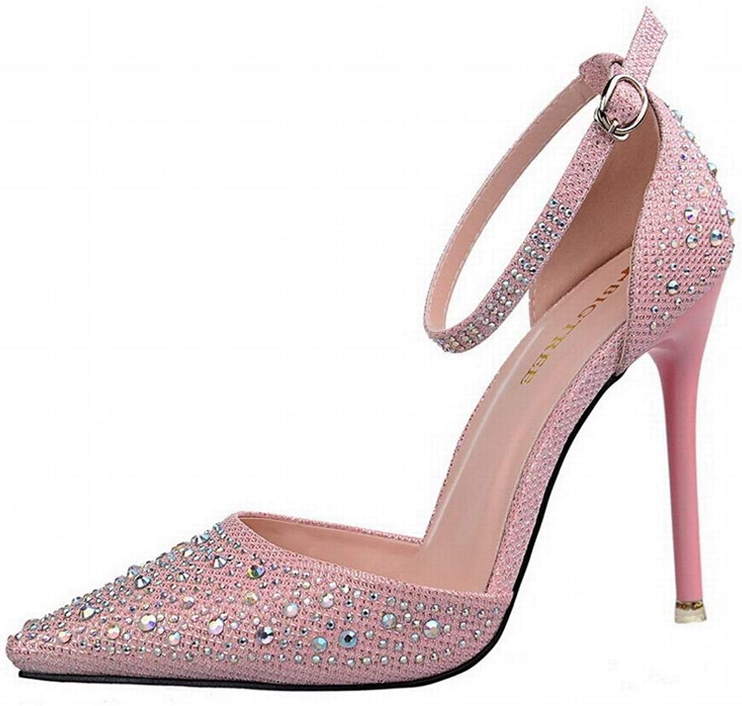 Kirabon Women's Shiny Rhinestone Stiletto High-Heeled Pointed Cutout Sandals Sweet Princess shoes (color   Pink, Size   39)
