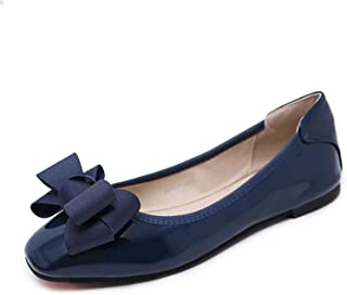 Surprise S Spring Butterfly-Knot Loafers Women Ballet Flats Slip On Solid Square Toe Lady Sweet Casual Shoes