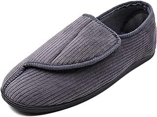 MEJORMEN Mens Diabetic Slippers Adjustable House House Warm Plush Fleece Comfortable Non-Skid Relief for Wide Swollen Feet, Elderly, Diabetes, Swelling, Edema, Arthritis, Neuropathy