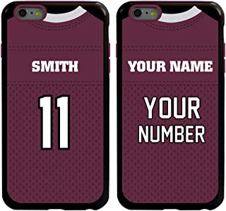 Custom Football Jersey Cases for iPhone 6 Plus / 6s Plus by Guard Dog – Personalized – Put Your Name and Number on a Rugged Hybrid Phone Case. Includes Guard Glass Screen Protector (Black/Maroon)